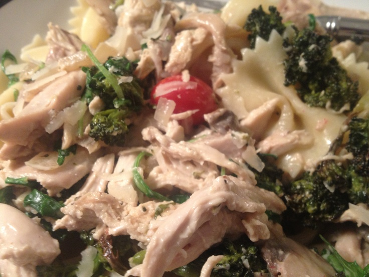 Roasted broccoli and chicken pasta Sauté onions, mushrooms, and ...