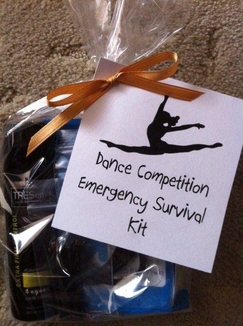 Dance Competition Survival Kit - filled with mini hairspray, hair pins, make up remover wipes, and a band-aid.