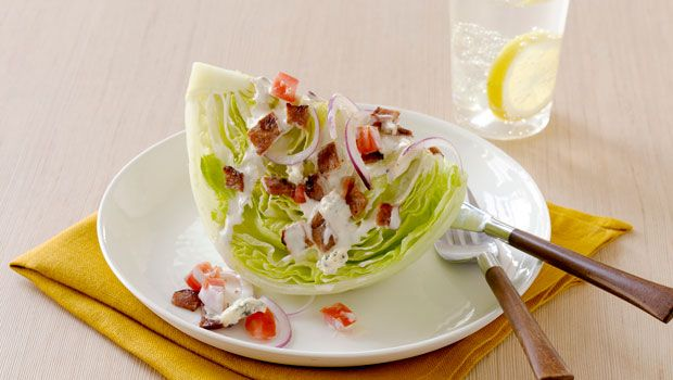 Iceberg Wedge with Warm Bacon and Blue Cheese Dressing. So delicious ...