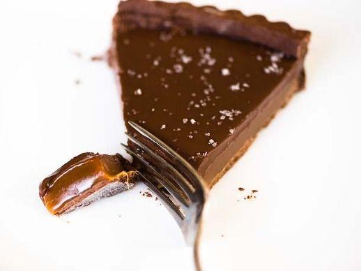 Chocolate Caramel Tart--make w almond-coconut crust/paleo caramel ...
