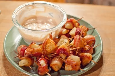 Bacon Wrapped Potato Bites with Spicy Sour Cream Dipping Sauce
