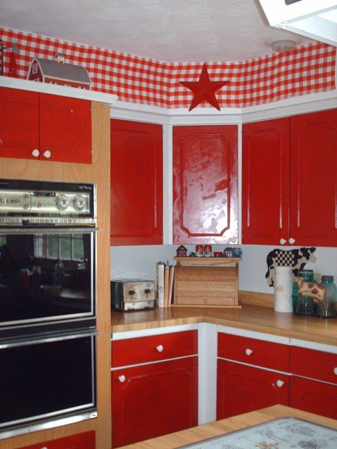 VINTAGE RED AND WHITE CHECKED FARM KITCHEN