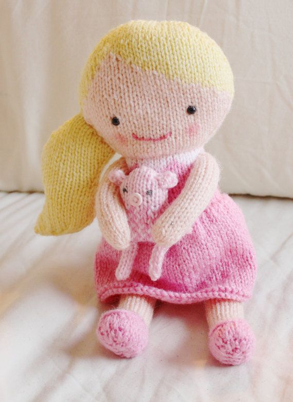 Doll Knitting Pattern Toy Rag Doll Pattern PDF - Rosie & Lulu