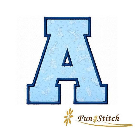 Sports varsity applique machine embroidery font letters