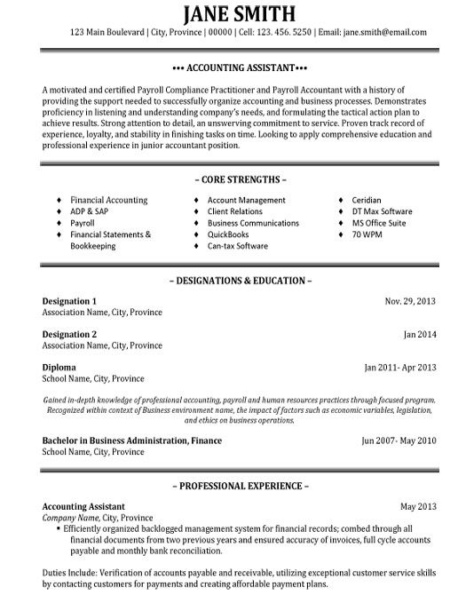 Sample Resume For Accountant