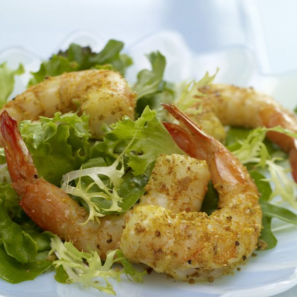 Fennel & Mustard Crusted Shrimp with Apricot Dressing | Recipe
