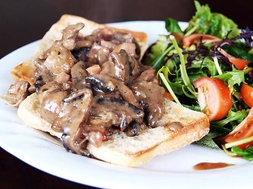 Creamy Mushroom, Chicken Livers & and Pancetta in Ciabatta