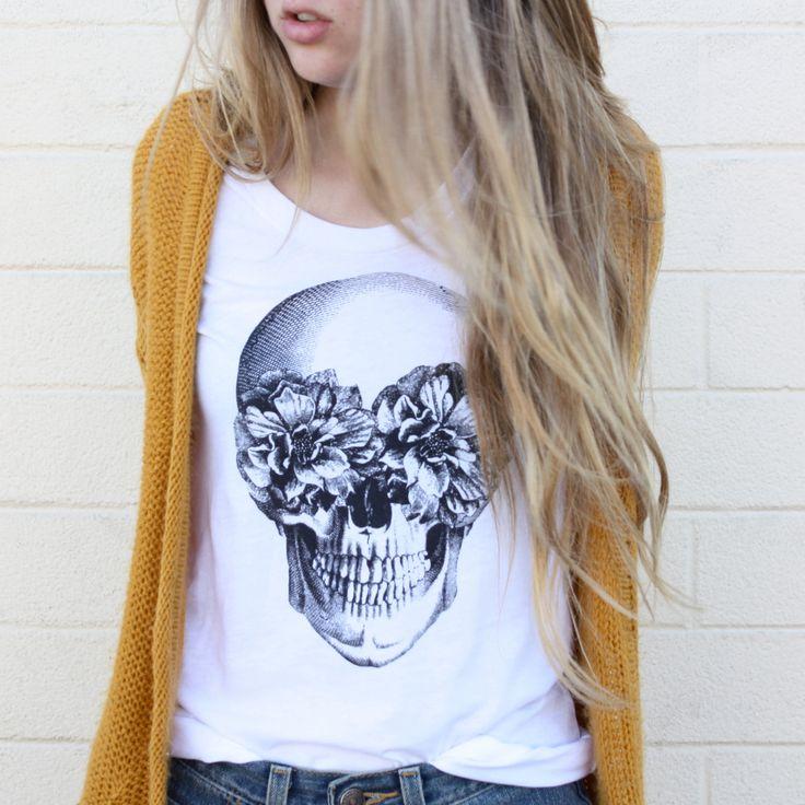 frida. skull. vintage soft white cotton. tee.. via tenthings