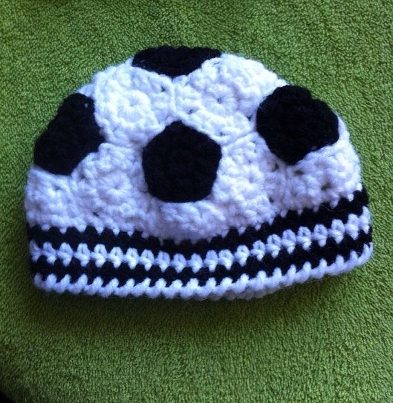 Soccer Ball Knitting Pattern : Crocheted Infant Soccer Ball hat