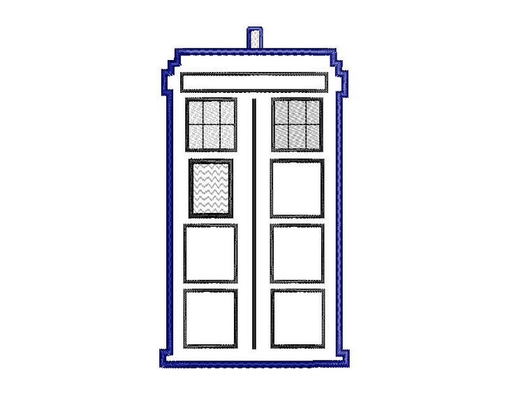 Free - Embroidery Machine Design Tardis  Doctor Who Tardis AppliqueTardis Vector Outline