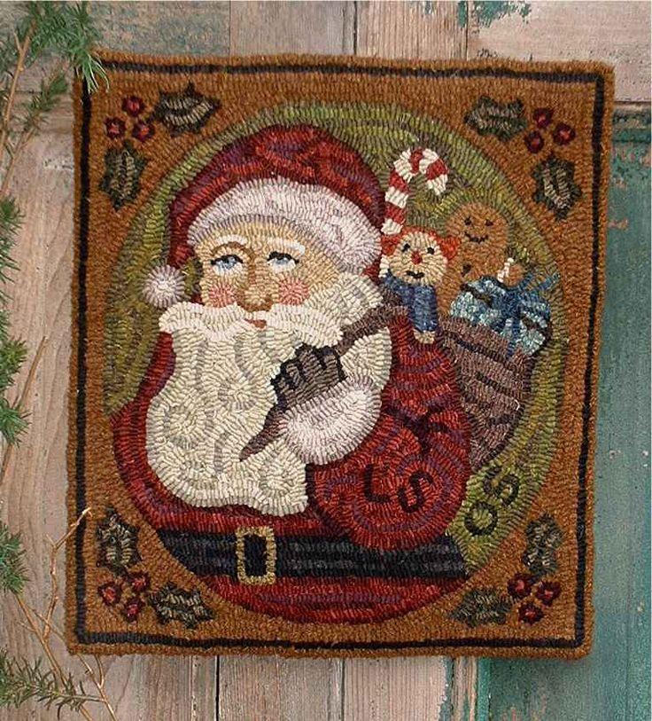 Star Rug Santa Barbara: The Country Cupboard Christmas Santa Primitive Folk Art