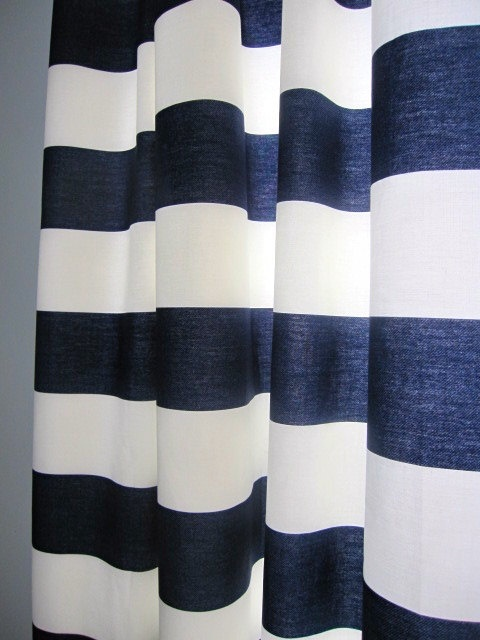 2 Curtains Drapes Window Curtains Set Of 2 Navy Blue And White Hor
