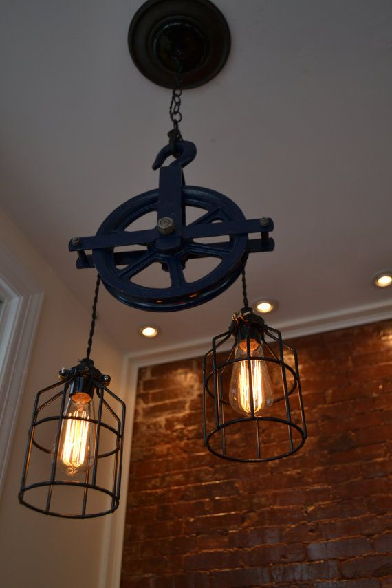 Re Purposed BLUE Barn Pulley Industrial Light Swag Version Plugs In