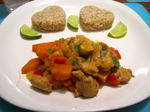 Red Curry Chicken with Butternut Squash - Love the heart shaped rice ...
