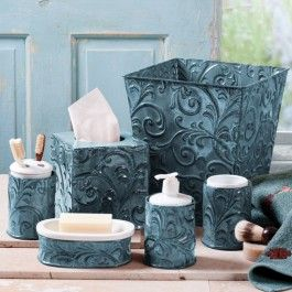 Turquoise Vintage Pressed Tin Bath Sets Home Decor