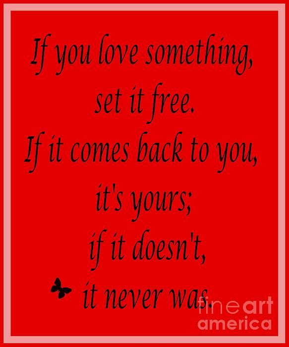 Funny Quotes If You Love Something Set It Free : If You Love Something Set It Free - Red Print by Barbara Griffin