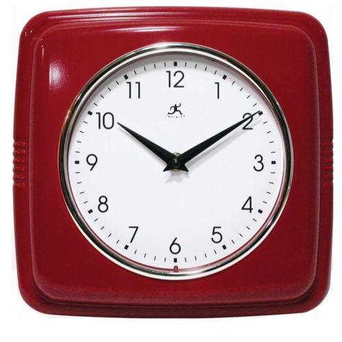 Sleek Retro Red Wall Clock Vintage Style Kitchen Clocks Convex Glass