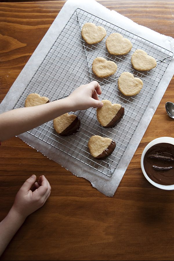 Chocolate Dipped Shortbread Hearts | Recipe