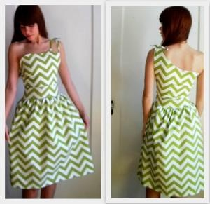 $75.00 Chartreuse Chevron One Shoulder Dress by temerson1 on Etsy