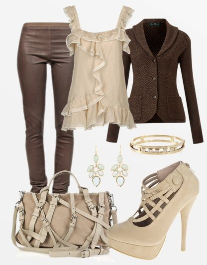 leather brown tights,brown warm coat,cream blouse,handbag,pumps