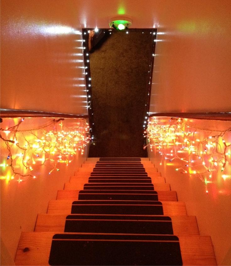 Icicle Lights On Basement Railing Christmas Decorating
