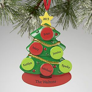 What a cute Christmas Ornament! You can personalize all of the ornaments on the little tree with all of your family member's names! Great Christmas Gift idea!