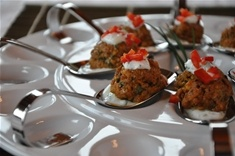 Lamb Tandoori Meatballs with Cilantro-Mint Cream