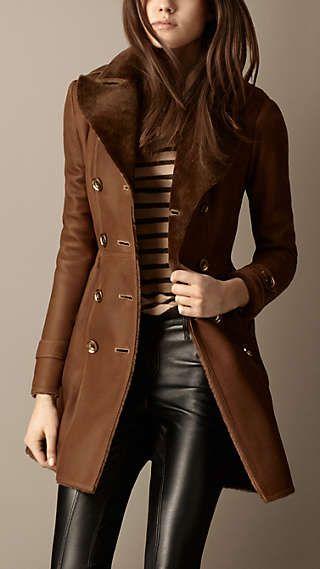 Long brown leather coat with leather pants
