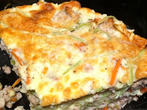 Lunch! Leftover ground pork and broccoli slaw frittata.
