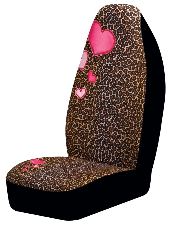 Girly Leopard Pink Heart Car Seat Cover CarDecor