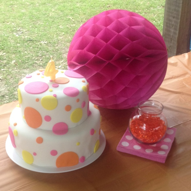 birthday cakes polka dots