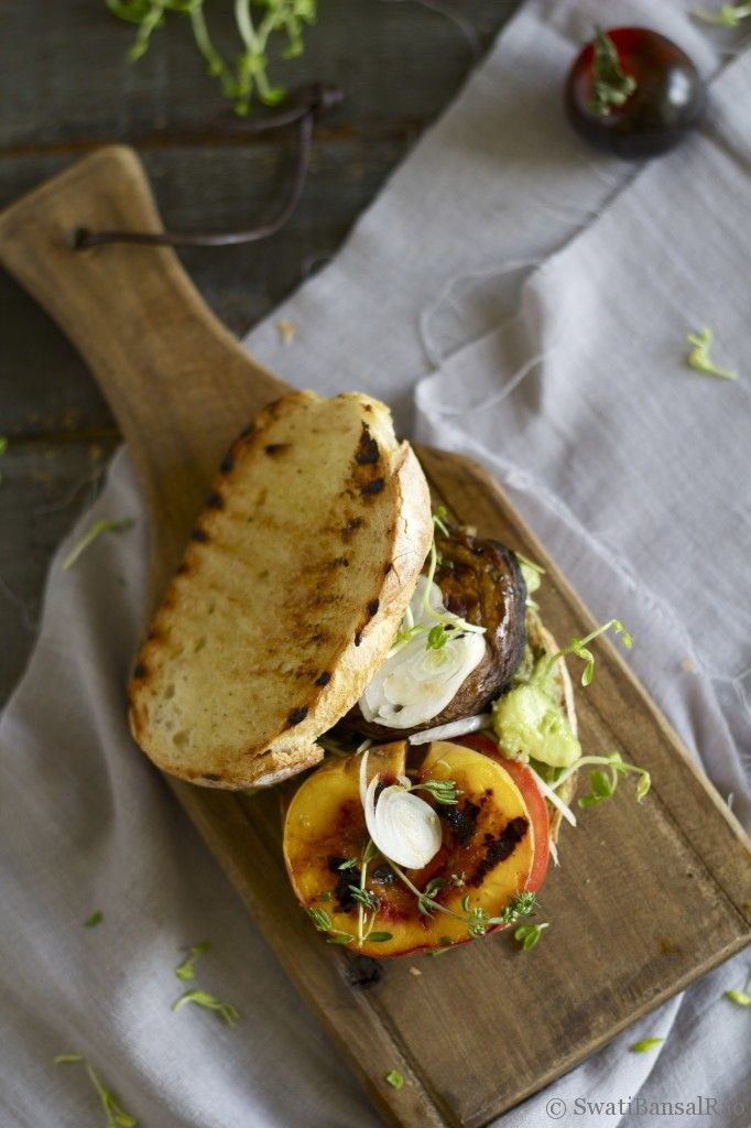 Grilled Portobello and Peach Sandwich | From the Kitchen | Pinterest