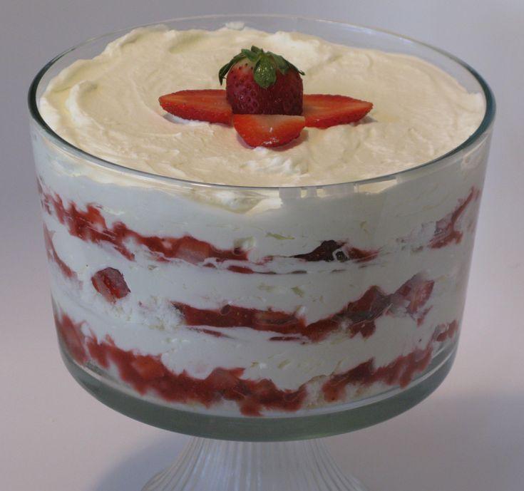 Strawberry Cheesecake Trifle. Angel food cake layered with homemade ...