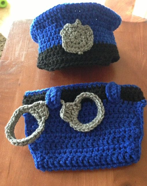 Crochet baby cop police officer uniform hat and diaper ...