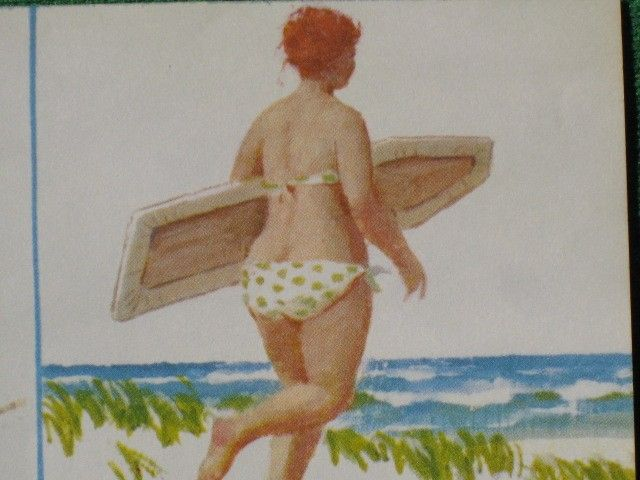 Hilda - going surfing, with ironing board