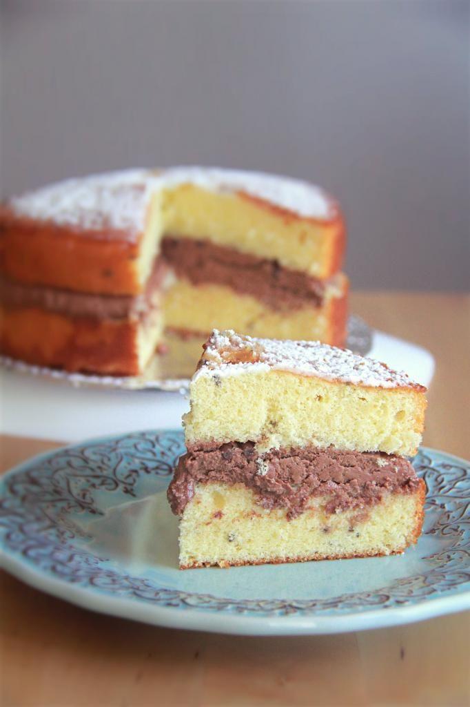 Crumbs and Cookies: lavender-lemon sponge cake with chocolate cream.