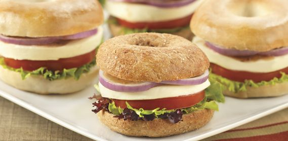 Fresh mini caprese whole wheat bagel sandwiches, the perfect size for ...