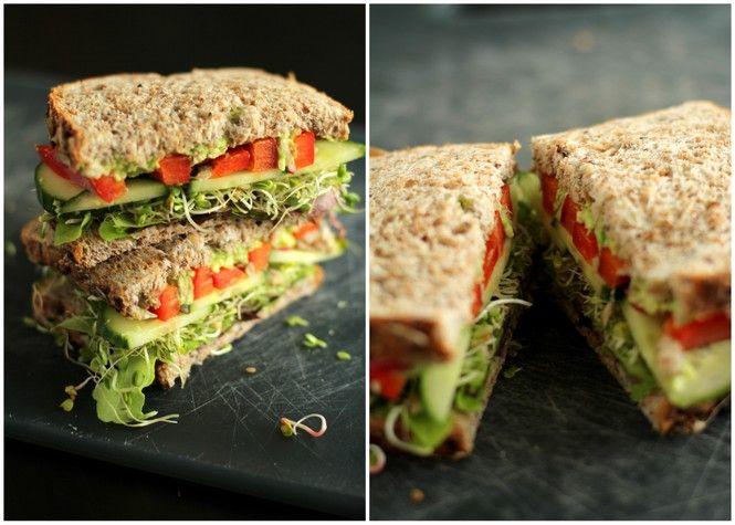 The Ultimate Veggie Sandwich - 2 slices whole grain sandwich bread ...