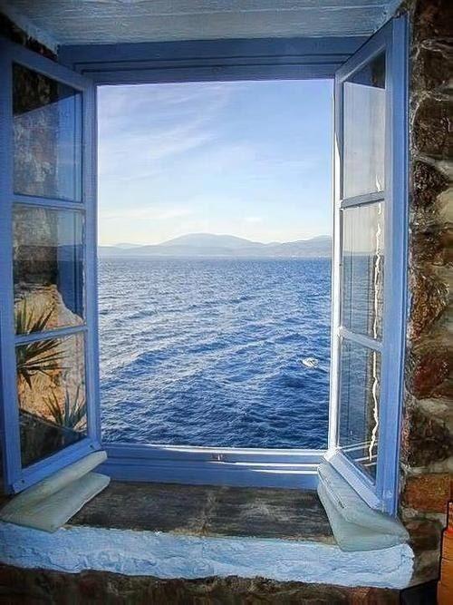 Window View Of Ocean Beautiful Through The Door