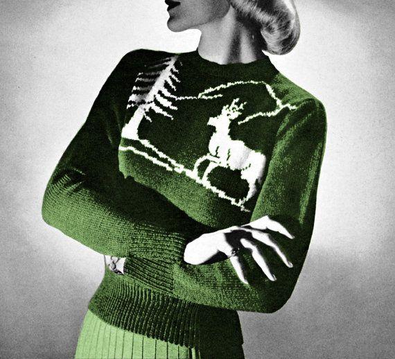 Vintage Knitting Pattern Reindeer Ski Sweater Nordic 1950s Scandinavi?