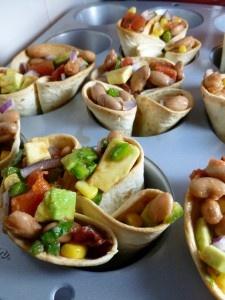 Bean and Avocado Salsa Tortilla Cups (Appetizer)