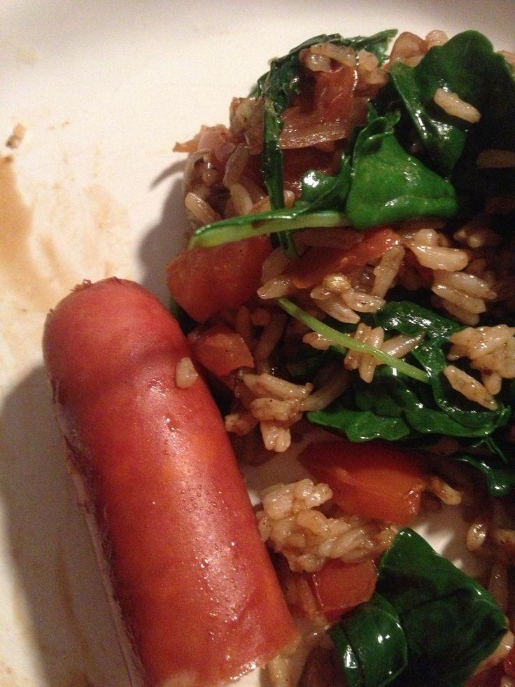 ... garlic shallots tomatoes and kale. Yumm :) can you say healthy