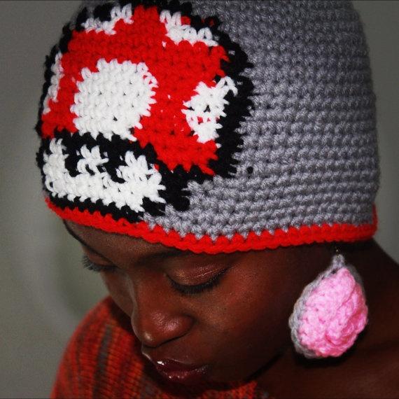Mario mushroom character hat by theobsessedcrocheter on etsy 23 00