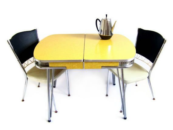 vintage kitchen table yellow marbled formica shiny silver chrome latt