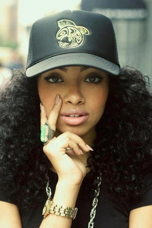 long curly kinky black hair. trucker hat | Styles | Pinterest