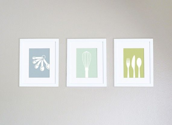 Modern Kitchen Art Print - Measuring Spoons Silhouette