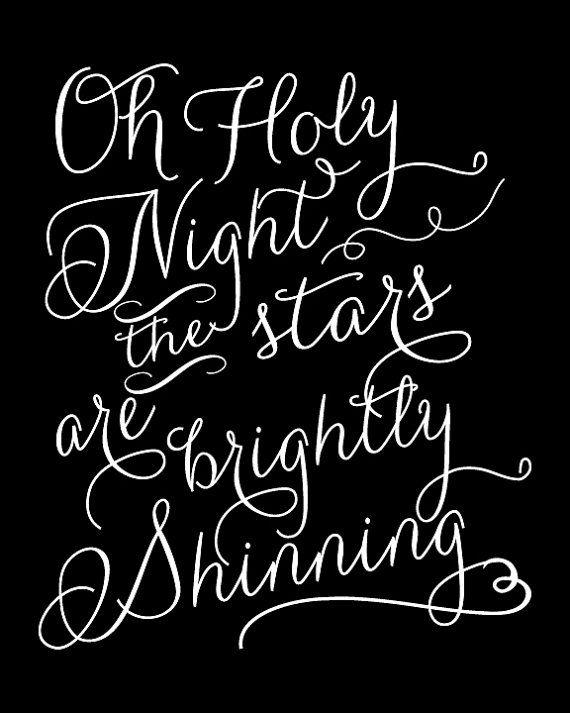 Oh Holy Night 8x10 Print - Christmas song lyrics - Seasonal Print - W…