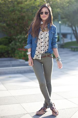 layer denim shirt with another shirt underneath! genius! goes great with skinnies