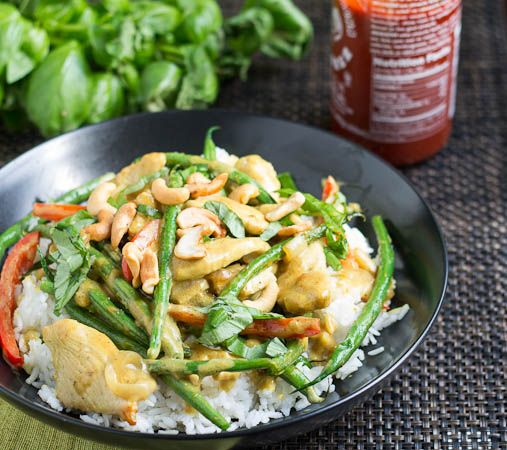 Basil, Chicken, and Green Beans in Coconut Curry Sauce - can be easily ...