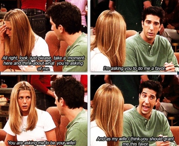When Ross didn't tell Rachel they were still married! Hahaha!